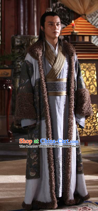 Chinese Ancient Chieftain Costumes Apparels Garment Drama Turbulence of the Mu Clan Ethnic King Mu Zeng Clothing and Headwear