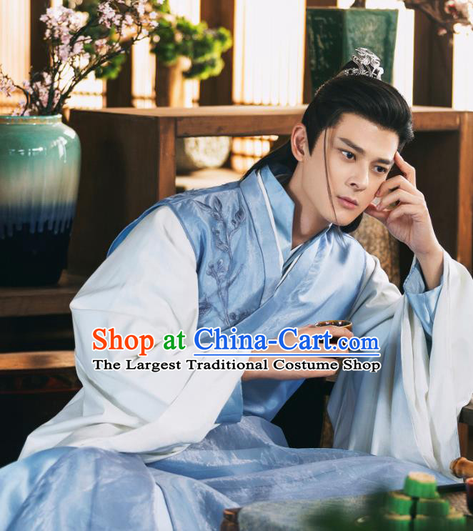 Chinese Ancient Dragon Prince Blue Garment Drama Sansheng Sanshi Pillow Eternal Love of Dream Su Moye Costumes and Hairdo Crown