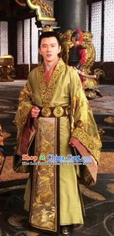 Chinese Ancient King Hanfu Costumes and Hair Accessories Drama The World of Love Crown Prince Zongzheng Fengxun Apparels