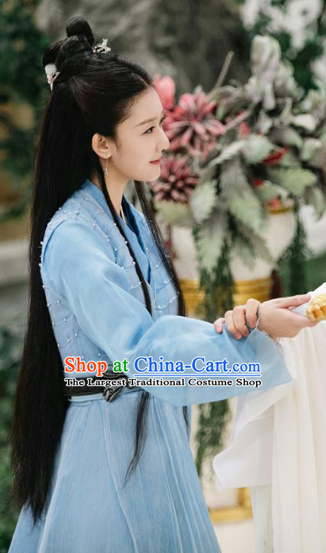 Chinese Ancient Goddess Blue Garment Drama Eternal Love of Dream Female Immortal Cheng Yu Dress and Headpieces Complete Set
