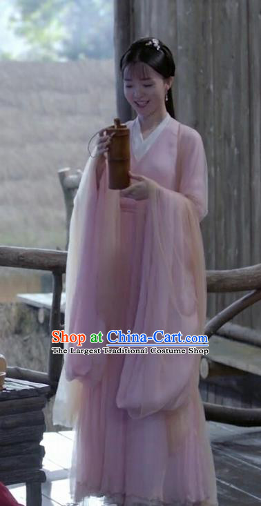 Chinese Ancient Court Maid Garment Drama Eternal Love of Dream Servant Girl Cha Cha Pink Dress and Hair Accessories