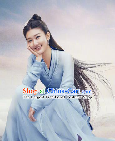 Chinese Ancient Immortal Blue Dress Costumes Drama Eternal Love of Dream Goddess Cheng Yu Garment and Headwear