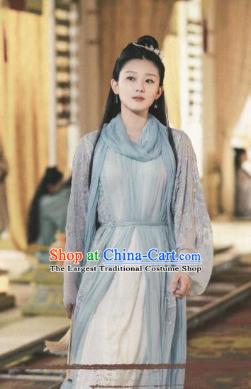 Chinese Ancient Goddess Apparels Drama Eternal Love of Dream Female Immortal Cheng Yu Costumes Garment and Headwear Complete Set