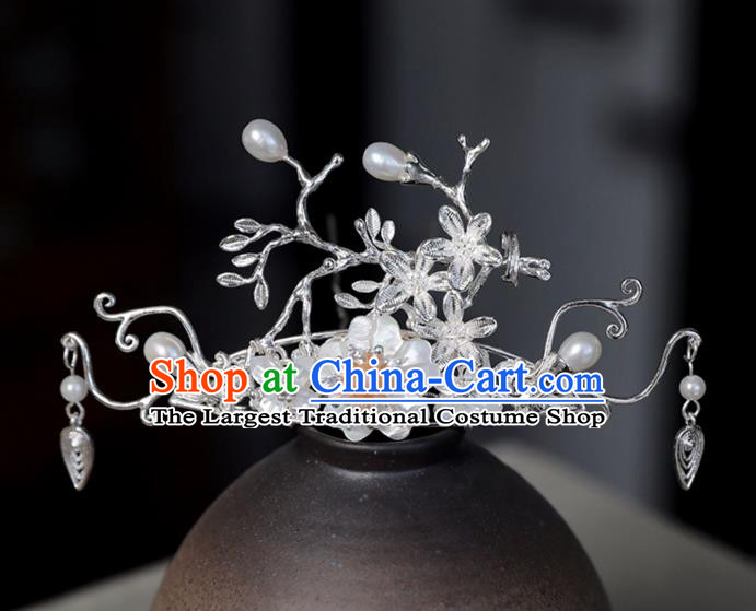 Chinese Ancient Shell Pearl Hair Crown Jewelry Headwear Hair Accessories Headdress Hairpins for Women
