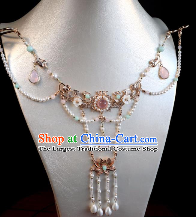 Chinese Ancient Hanfu Beads Tassel Necklace Women Jewelry Ming Dynasty Necklet Accessories