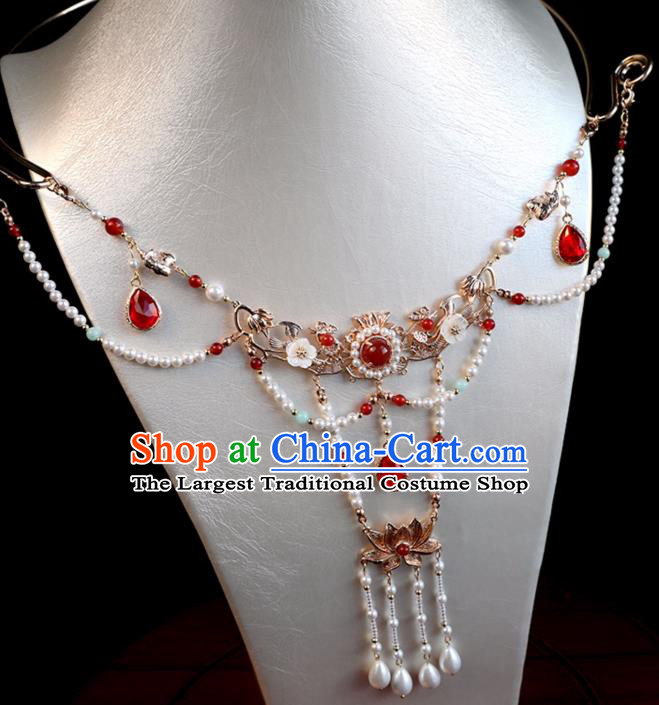 Chinese Ancient Hanfu Beads Tassel Necklace Women Jewelry Ming Dynasty Red Crystal Necklet Accessories
