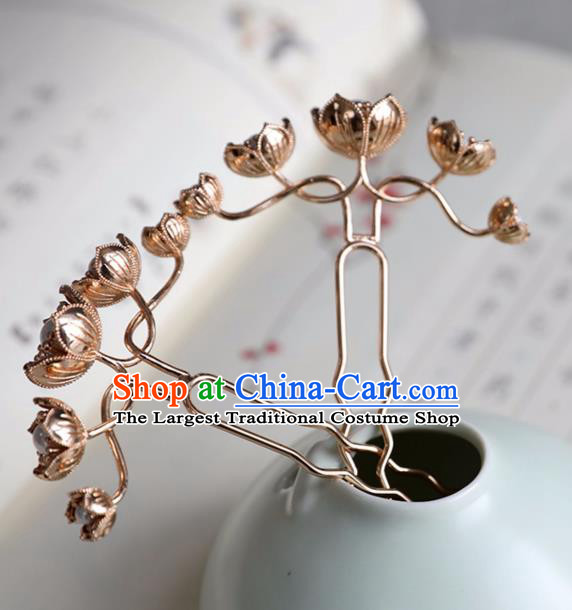Chinese Ancient Golden Flowers Hair Clips Jewelry Headwear Hair Accessories Ming Dynasty Hairpins for Women