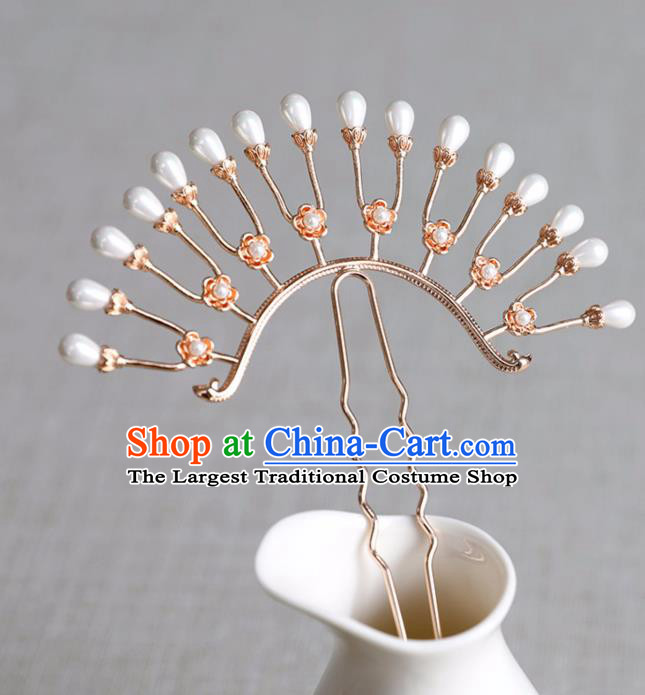 Chinese Ancient Pearls Hair Clip Jewelry Headwear Song Dynasty Hair Accessories Hairpin for Women