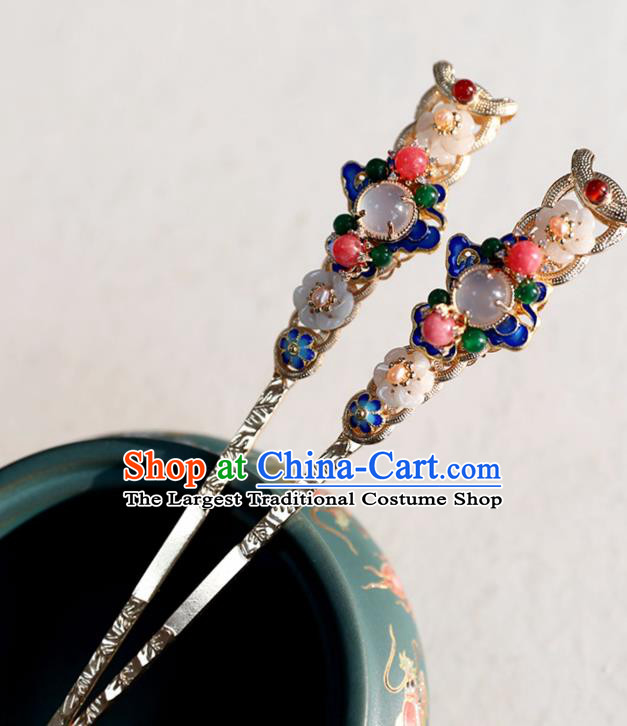 Chinese Ancient Gems Hairpins Jewelry Headwear Hair Accessories Ming Dynasty Women Cloisonne Hair Clips