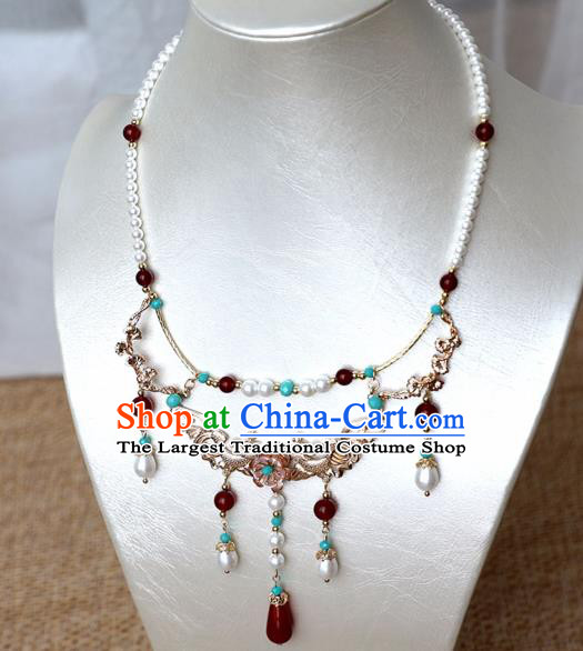Chinese Ancient Princess Golden Carps Necklace Women Accessories Pearls Tassel Necklet Jewelry