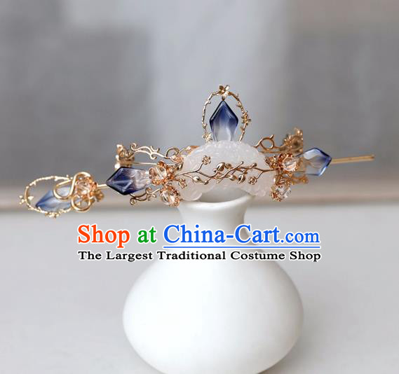 Chinese Ancient Hanfu Golden Hair Crown Women Headwear Hairpin Jade Hair Accessories