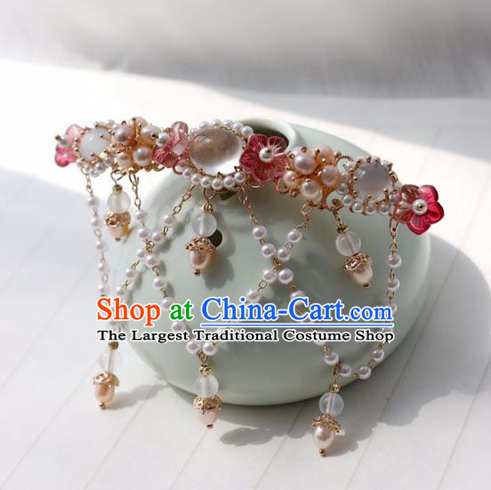Chinese Ancient Women Red Plum Hairpin Hair Clip Headwear Hair Accessories Pearls Tassel Hanfu Hair Crown