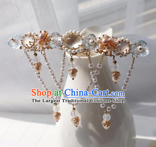 Chinese Ancient Women Blue Plum Hairpin Hair Clip Headwear Hair Accessories Pearls Tassel Hanfu Hair Crown