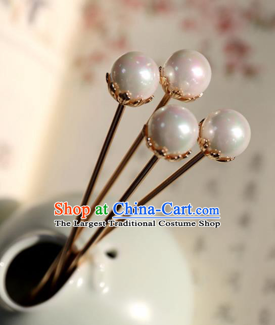 Chinese Ancient Pearl Hair Clip Headwear Women Hair Accessories Ming Dynasty Court Hairpins