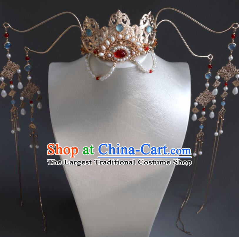 Chinese Ancient Women Hairpin Golden Hair Crown Headwear Hair Accessories Pearls Tassel Hanfu Phoenix Coronet
