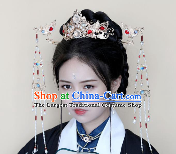 Chinese Ancient Hanfu Pearls Hair Crown Women Headwear Golden Phoenix Hairpin Hair Accessories