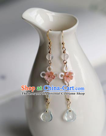 Chinese Ancient Hanfu Blue Crystal Earrings Women Jewelry Shell Flowers Ear Accessories