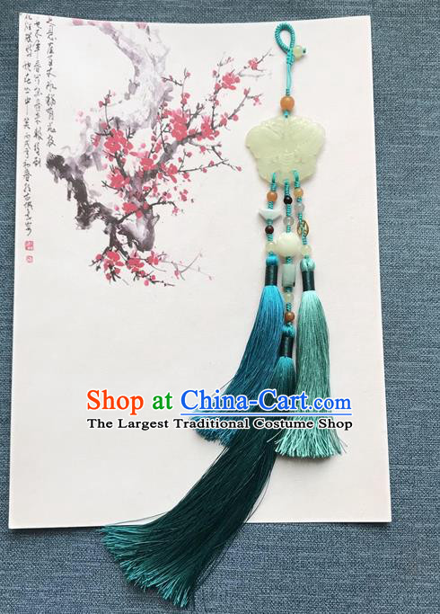 Chinese Ancient Carving Jade Butterfly Blue Tassel Pendant Women Accessories Qing Dynasty Court Brooch Jewelry