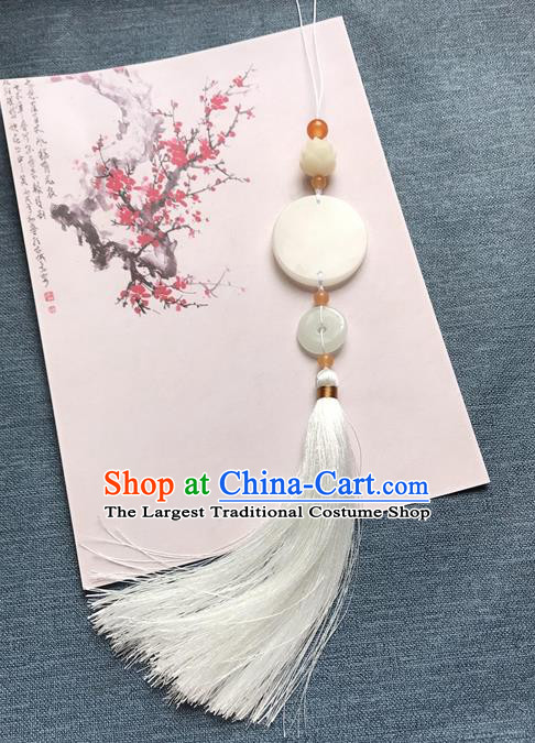 Chinese Ancient White Tassel Jade Pendant Waist Accessories Peacuful Jade Lappet Jewelry