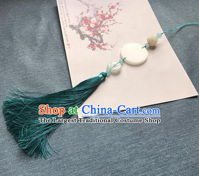 Chinese Ancient Peacock Green Tassel Jade Pendant Waist Accessories Peacuful Jade Lappet Jewelry