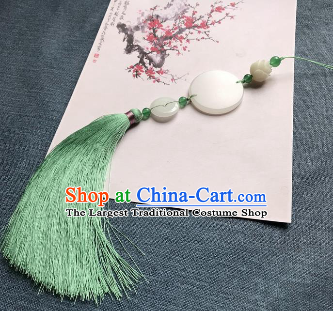 Chinese Ancient Green Tassel Jade Pendant Waist Accessories Peacuful Jade Lappet Jewelry