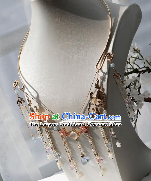 Chinese Ancient Princess Shell Stars Tassel Necklace Women Accessories Tassel Golden Necklet Jewelry