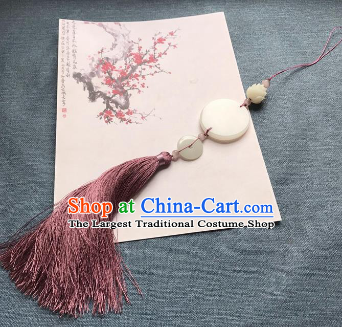 Chinese Ancient Hanfu Purple Tassel Jade Pendant Waist Accessories Peacuful Jade Lappet Jewelry