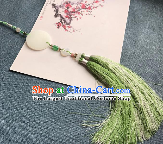 Chinese Ancient Hanfu Light Green Tassel Jade Pendant Waist Accessories Peacuful Jade Lappet Jewelry