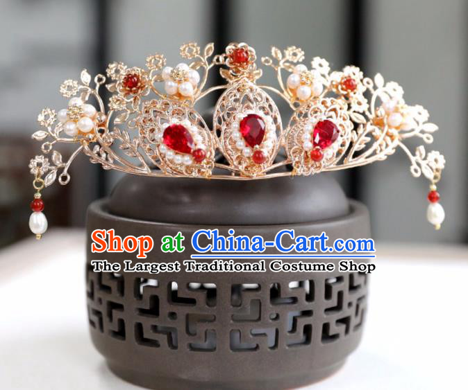 Chinese Ancient Red Crystal Hair Crown Headwear Women Hair Accessories Ming Dynasty Pearls Hairpin Hair Comb