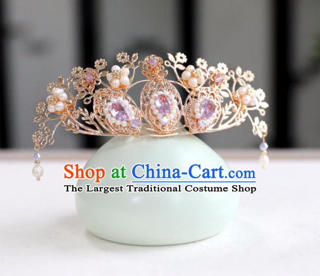 Chinese Ancient Purple Crystal Hair Crown Headwear Women Hair Accessories Ming Dynasty Pearls Hairpin Hair Comb