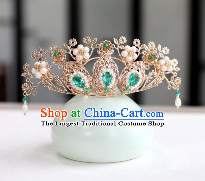 Chinese Ancient Green Crystal Hair Crown Headwear Women Hair Accessories Ming Dynasty Pearls Hairpin Hair Comb