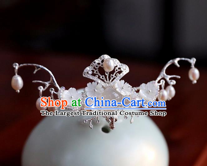 Chinese Ancient Tassel Shell Hair Clip Headwear Women Hair Accessories Ming Dynasty Red Chalcedony Hairpin