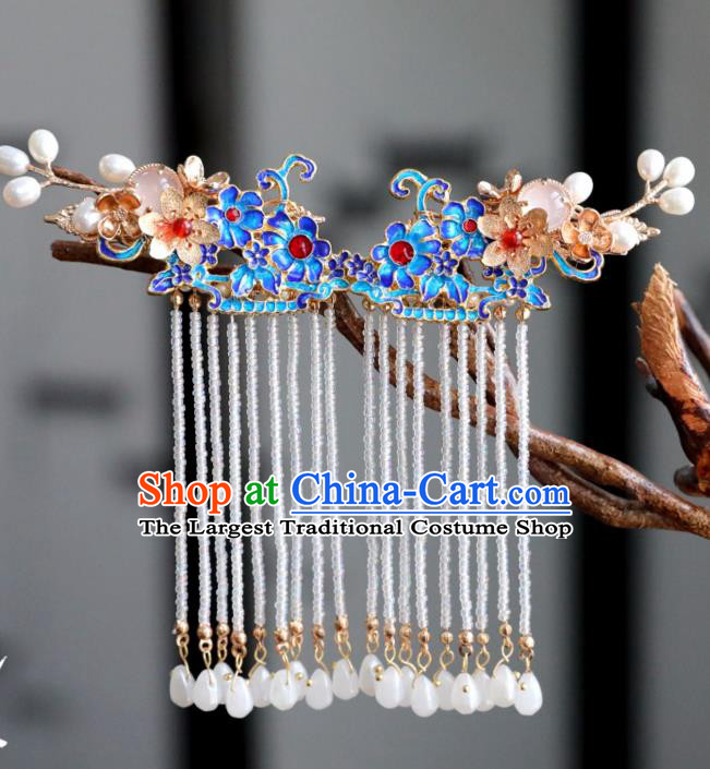 Chinese Ancient Cloisonne Tassel Hair Claws Headwear Women Hair Accessories Ming Dynasty Court Hair Stick Hairpin