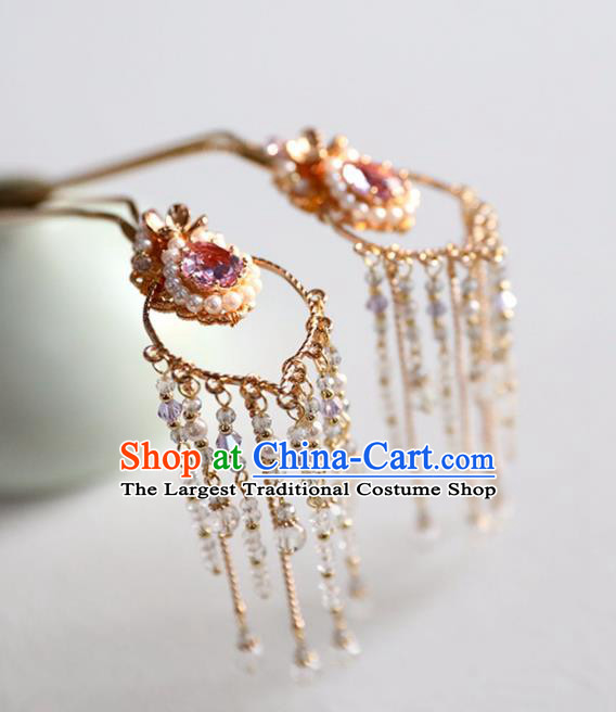 Chinese Ancient Princess Purple Crystal Hair Clips Ming Dynasty Headwear Women Hair Accessories Tassel Hairpins