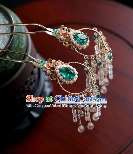 Chinese Ancient Princess Green Hair Clips Ming Dynasty Headwear Women Hair Accessories Tassel Hairpins