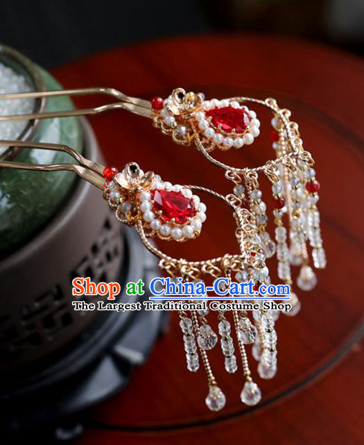 Chinese Ancient Princess Red Crystal Hair Clips Ming Dynasty Headwear Women Hair Accessories Tassel Hairpins