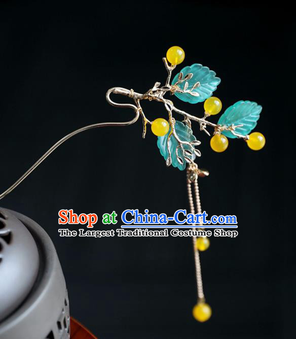 Chinese Ancient Princess Yellow Beads Leaf Hair Clips Ming Dynasty Headwear Women Hair Accessories Tassel Hairpins