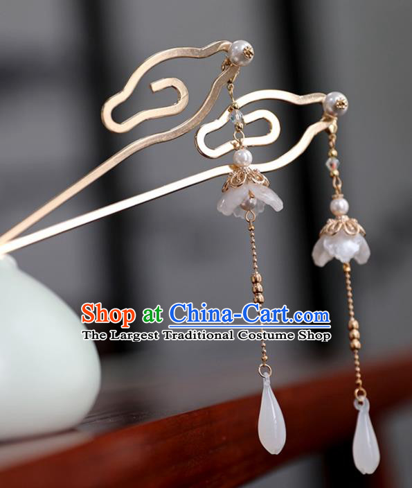 Chinese Ancient Ming Dynasty Golden Hairpin Headwear Women Mangnolia Tassel Hair Clip Hair Accessories