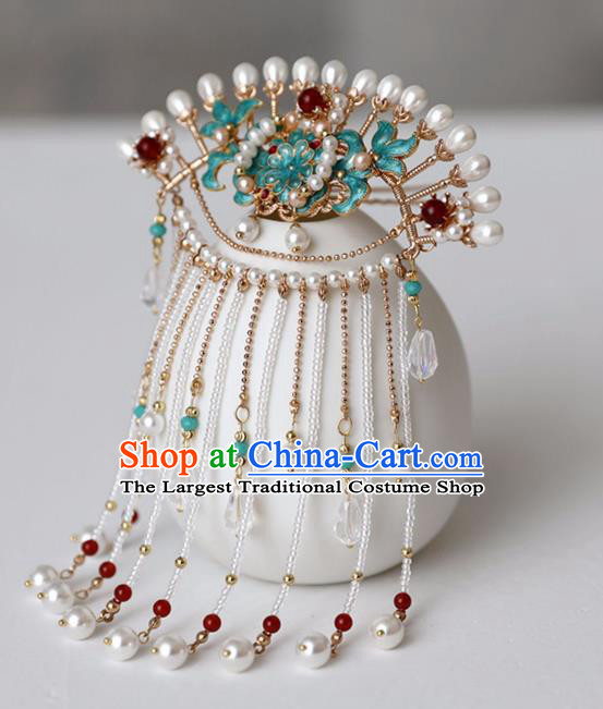 Chinese Ancient Pearls Tassel Green Hairpin Headwear Women Hair Accessories Ming Dynasty Court Cloisonne Hair Clip