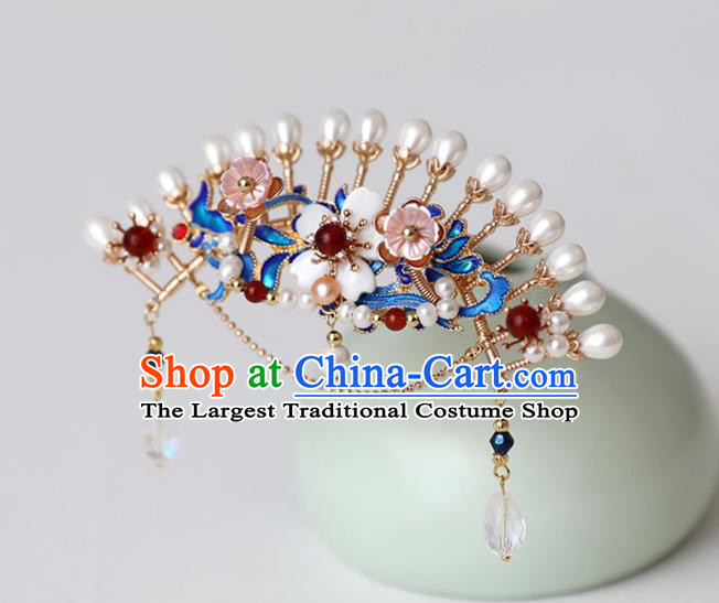Chinese Ancient Pearls Hair Crown Headwear Women Hair Accessories Ming Dynasty Court Cloisonne Hairpin