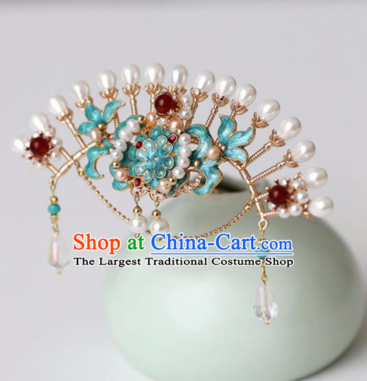 Chinese Ancient Pearls Green Hair Crown Headwear Women Hair Accessories Ming Dynasty Court Cloisonne Hairpin