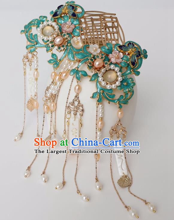 Chinese Ancient Ming Dynasty Cloisonne Hairpin Headwear Women Hair Accessories Pearls Tassel Hair Comb