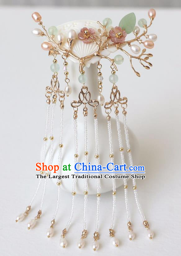 Chinese Ancient Shell Pearls Hanfu Hair Stick Headwear Women Hair Accessories Ming Dynasty Tassel Hair Claw