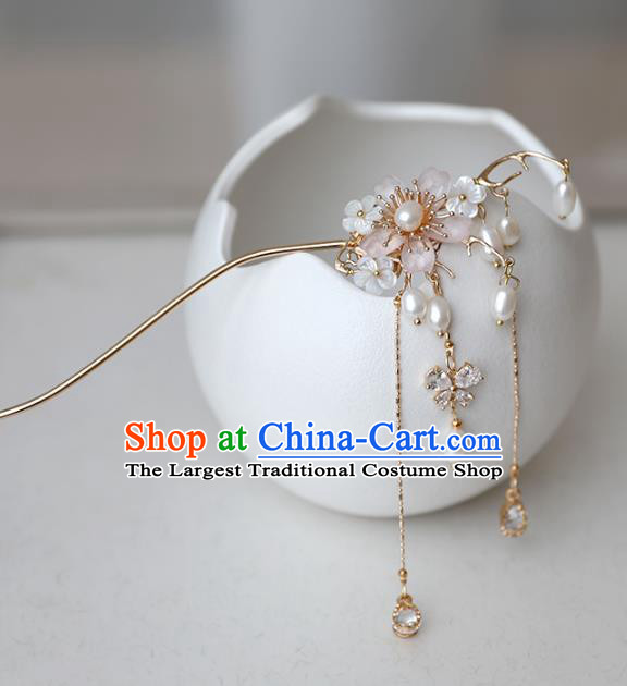 Chinese Ancient Pink Flower Hanfu Hair Clip Headwear Women Hair Accessories Ming Dynasty Pearls Tassel Hairpin