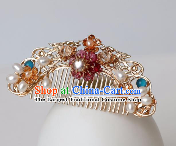 Chinese Ancient Hanfu Golden Hair Comb Hairpin Women Hair Accessories Tang Dynasty Pearls Headwear