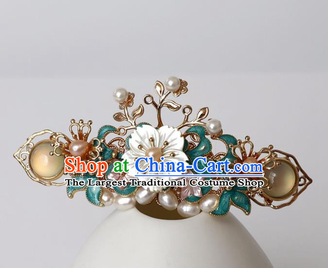 Chinese Ancient Ming Dynasty Cloisonne Hair Clip Headwear Women Hair Accessories Pearls Hairpin