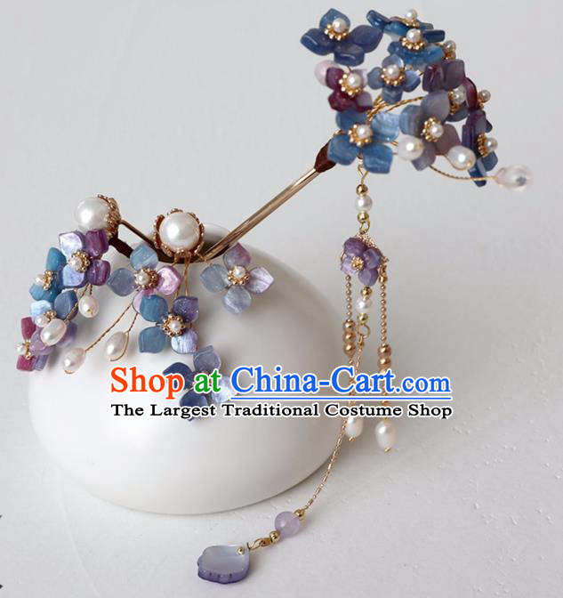 Chinese Ancient Ming Dynasty Purple Flowers Hairpin Headwear Women Hair Accessories Tassel Hair Clip
