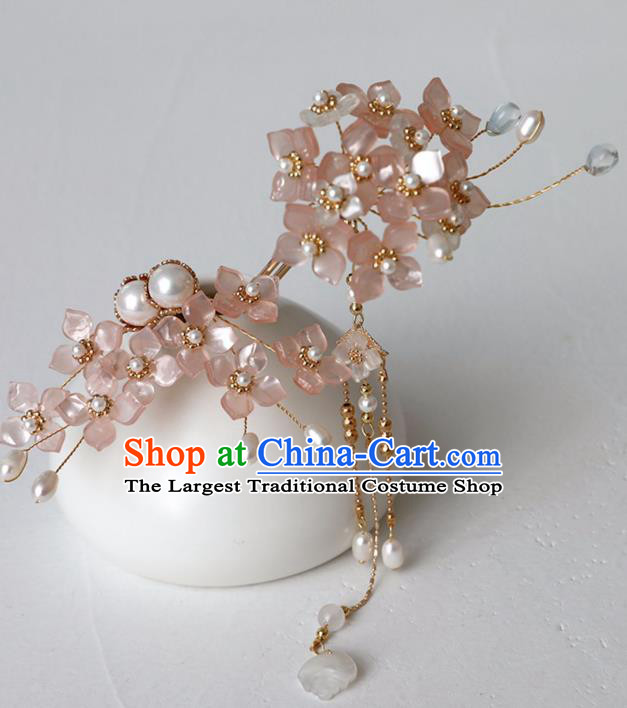 Chinese Ancient Ming Dynasty Pink Flowers Hairpin Headwear Women Hair Accessories Tassel Hair Clip