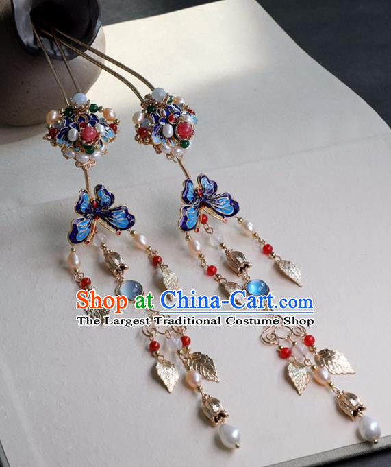 Chinese Ancient Cloisonne Butterfly Hairpin Headwear Women Hair Accessories Ming Dynasty Court Pearls Tassel Hair Clip
