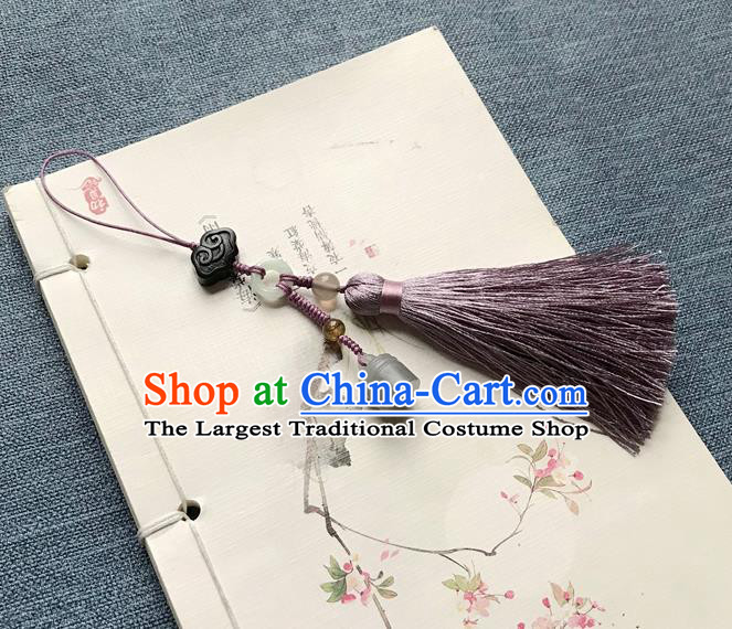 Chinese Ancient Hanfu Purple Tassel Pendant Jade Cloud Lappet Jewelry Brooch Accessories